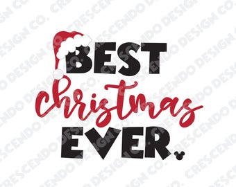 Disney Best Christmas Ever Mickey Head SVG, Eps, Pdf, Png for Cricut Iron-On Decal Cutting File/Clip Art, Disney Family Shirt