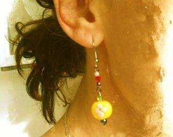 Summer flowers dangle earrings