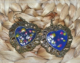 Heart Earrings pink blue and yellow