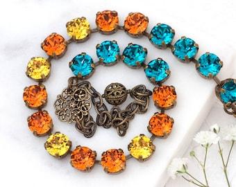 Tangerine Orange Necklace, Teal Rhinestone Necklace Tennis, Orange Crystal Necklace, Swarovski Crystal Jewelry Orange Rhinestone Jewelry Gae