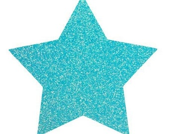 10 X 9.5 cm neon blue glittery star fusible pattern