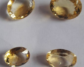 4 Pieces, 100% Natural Citrine Oval Shape Faceted cut, Citrine Faceted Oval Cut, Loose Gemstone Beads, 16x12 To 13x10mm Size