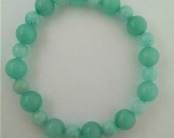 Bracelet in aqua amazonite natural stone Crystal healing.