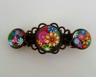 Colorful hair clips 3 flower cabochons.