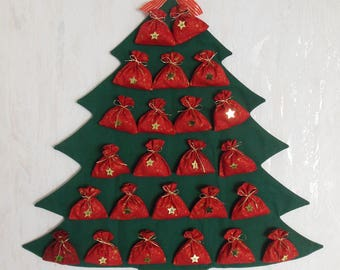 Christmas tree quilted fabric advent calendar