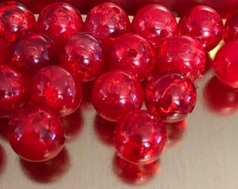 Red Acrylic Crackle Beads | Miracle Beads | Round Beads, Valentine's Day Beads | 10 mm