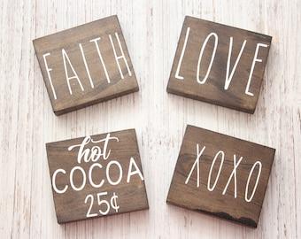 Rae Dunn Inspired Mini Blocks, XOXO, Love, Faith, Hot Cocoa 25 cents, blocks for tiered stands, mini wood blocks, mini blocks