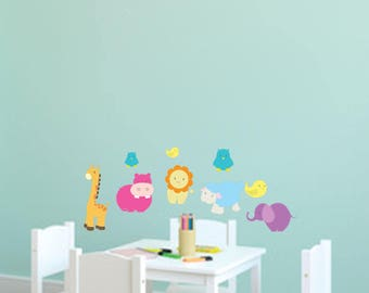 SAFARI ZOO ANIMALS vinyl wall art sticker decals nursery kids room decor