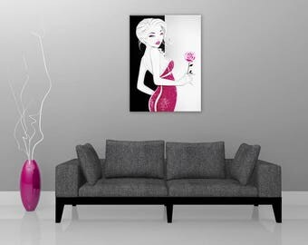 Pink Lady, digital art wall painting