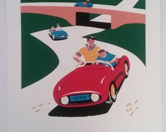 Disneyland Autopia poster print, Tomorrowland ride, designed by Bob Gurr in 1956, vintage advertising, stock print, copyright Disney