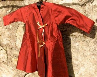 Slavic red silk dress