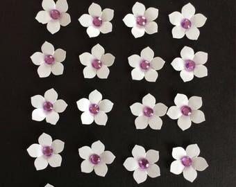 24 handmade die cut floral embellishments