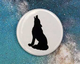 Howling Wolf Silhouette Pin/Button, Magnet, or Keychain