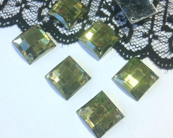 LARGE rhinestones to sew green VERONESE square resin 14 x 14 mm (V47) 4 rhinestones