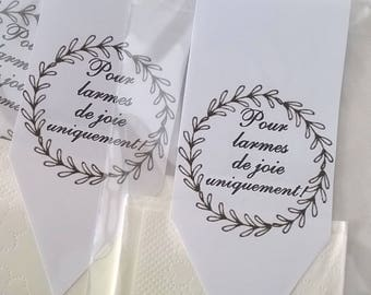 "10 sachets handkerchief, ""tears of joy"" white wreath, customizable, for wedding or other event."