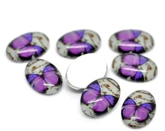 Oval glass cabochon Motif Butterfly 18 X 13 mm