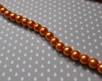 Set of 20 Pearl 8 mm Orange glass beads