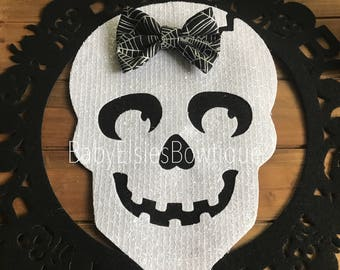 Halloween Caught in The Web Spider Web Fabric Bow
