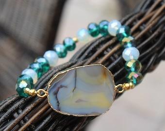 Natural Agate Indicolite Opal Beaded Stretch Bracelet