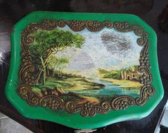 Tin box ancient and rare landscape design
