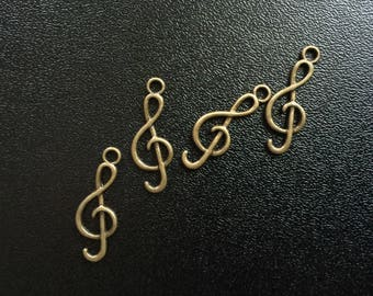 4 treble clef, music, antique bronze charms