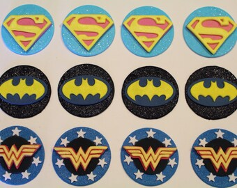12 Superhero Edible Fondant Cupcake Toppers