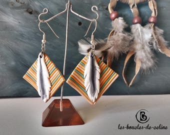 Earrings: Pocahontas feathers