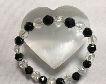 Black onyx and clear rock crystal