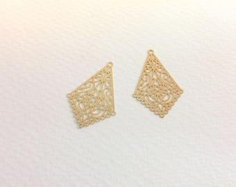 spacer 10 prints candlesticks 34x23mm Golden jewellery designs