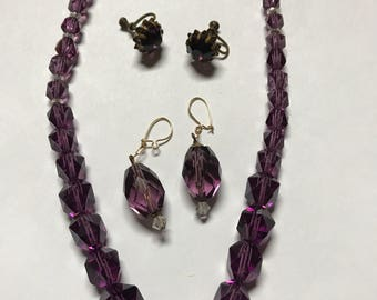Purple Beaded Choker Vintage Necklace and Earring Set
