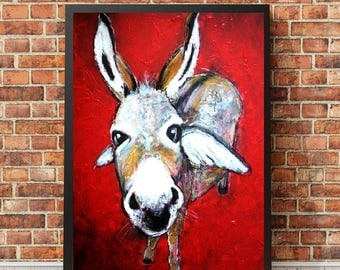 The subtle lightness of the ES-painting art print-donkey-limited Edition-collection-art-animals-print-collection