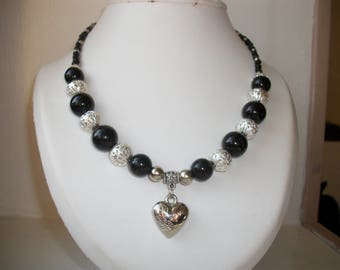 Heart Necklace, black and silver, Valentine's day or mother's day.