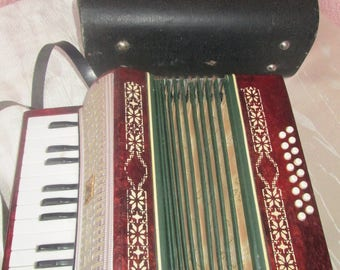 Vintage USSR accordion, musical instrument with own suitcase, red pearl color accordion for kids, gift for children,collectible instrument