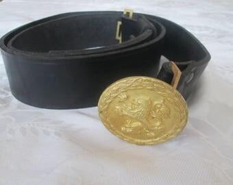 Vintage military belt, Officer's military belt, Black leather belt, Adjustable belt, Army belt, Men's leather belt,  Аrmy style, Accessory