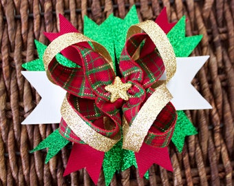 Christmas Bow- Holiday Bow- Red and Green Bow- Gold- Baby Girl Bow- Toddler Bow- Hair bow- Stacked Boutique Bow- Merry Christmas