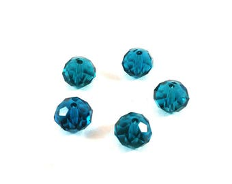 Set of 10 faceted blue Emerald synthetic (Ref.101)
