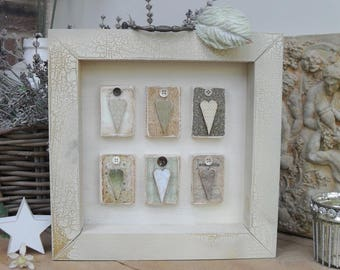 VINTAGE STYLE Heart Box Plaque, Distressed Crackle Wood, Home Decor, Shelf Sitter, Greens