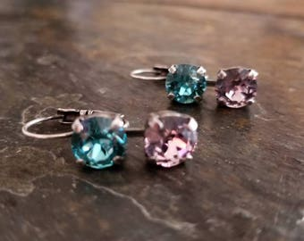 Crystal 2 stone earrings. Light turquoise and violet. Antique silver.