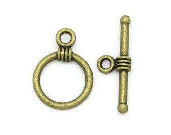 x 5 Toggles clasps color Bronze metal