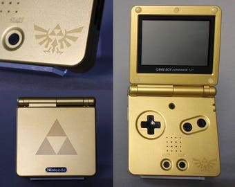 Nintendo Game Boy Advance GBA SP Zelda Triforce Custom Gold System AGS 001 Mint New (Pick Button Color!)