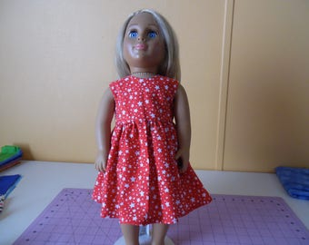 "Red and white stars dress for 18"" dolls"