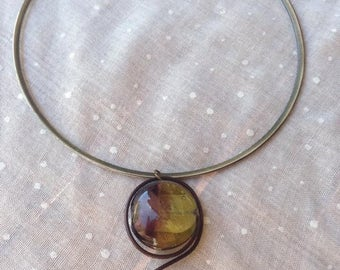 Metal with glass bead necklace