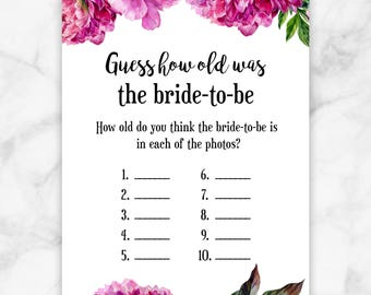 Pink Peonies Guess How Old Pictures Bridal Shower Game
