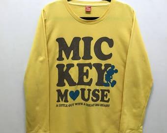 Rare!!! Disney Mickey Mouse Pullover Multicolors Spellout Logo