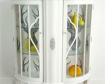 White Vintage Glass Display Cabinet, Schabby Chic Cabinet