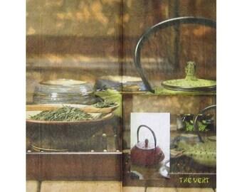 "Napkin for collage decor ""green tea"""