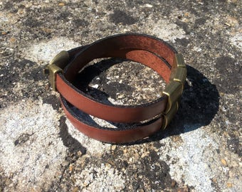 Mixed brown leather strap and Metal bronze