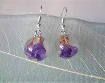 Real flower earrings Purple earrings dangle Resin earrings drop Purple flower earrings balls Terrarium earrings Flower resin jewelry purple