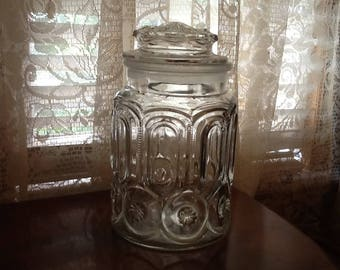 Apothecary Jar Moon & Stars Crystal Glass Candy Jar Vintage L.E. Smith