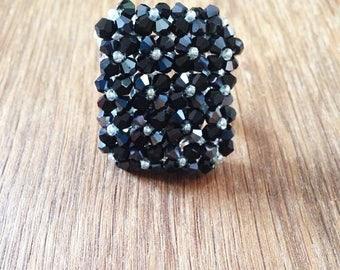 Silver Black Swarovski Crystal adjustable statement ring